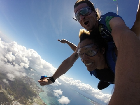Huge smile during free fall