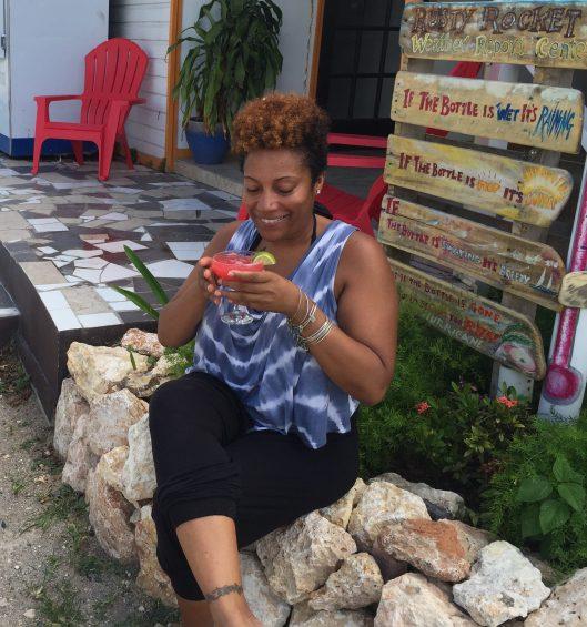 Enjoying a watermelon margarita